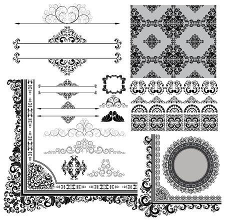 round corner: collection of various vintage design elements