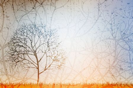 lonely tree: lonely tree - grungy vector illustration, eps10 Illustration