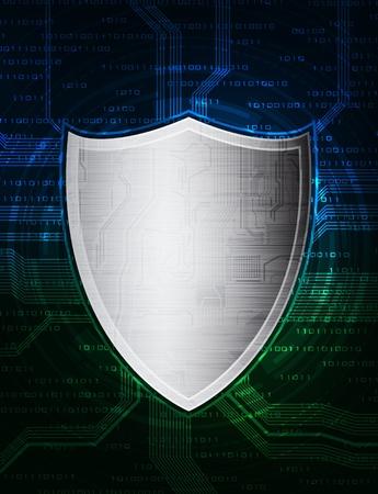 blue shield: computer data protection illustration