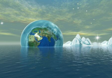 frozen earth in to the the ocean, environmental catastrophe Stock Photo - 3081008