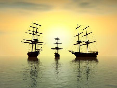fantasy view of three ol ships at sunset,digital artwork photo