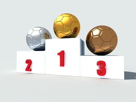 three soccer-ball on white podium -3drendering photo