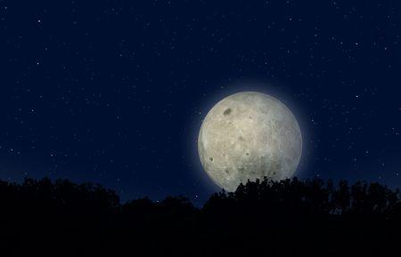 moon landscape on blue sky-star - digital artwork Stock Photo - 3081034