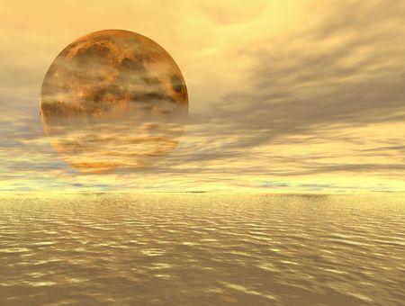 moonrise: Moonrise over the ocean - digital artwork Stock Photo