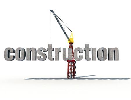 logotipo de construccion: 3d construcci�n logo en fondo blanco  Foto de archivo