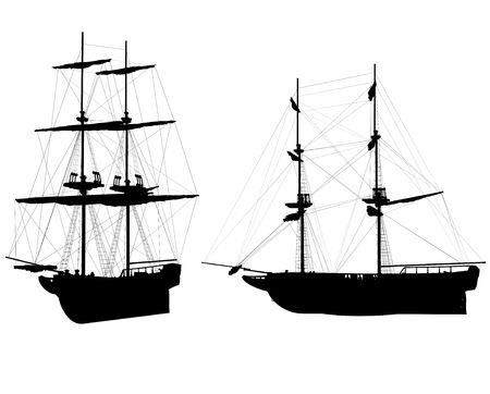 mediaval: Silhouettes of two old ship on white background Stock Photo