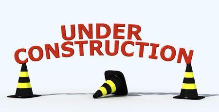 construction logo:  under construction logo on white  background - 3d rendering