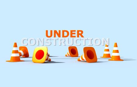 construction logo:  under construction logo with white and orange cone traffic- 3d rendering