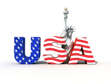 liberty: Usa logo with statue of liberty- digital art work Stock Photo