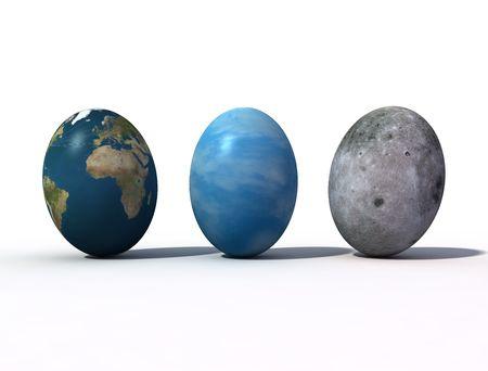 fantastic view: fantastic view of easter eggs 3d rendering