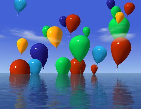 color ballons over the ocean - digital artwork photo