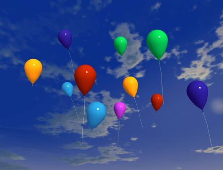 ballons on air - digital artwork Stock Photo