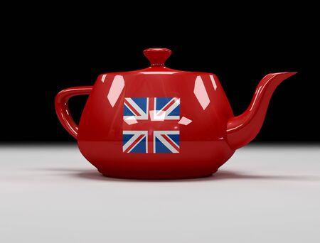 teapot with english flag - digital artwork