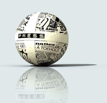 Newspapers on globe, digital art work