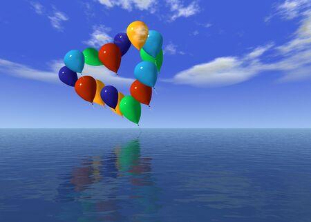 love ballons over the ocean -digital artwork photo
