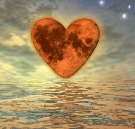 heart with texture-mapping of the moon over the ocean - digital artwork photo