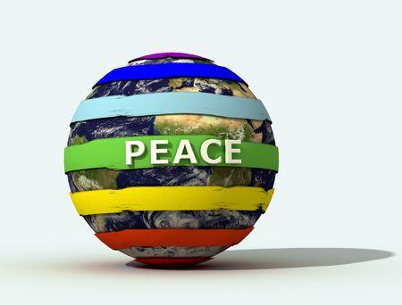 peace logo on  globe -3d rendering photo