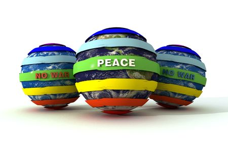 3d peace and no-war logo on globe- 3d rendering photo