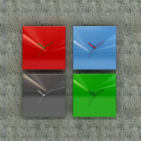 clock design on concrete wall photo