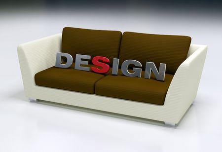 furniture design: 3d design logo on brown and beige sofa - digital artwork Stock Photo