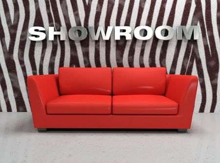 red sofa: virtual showroom with red sofa and wall with zebra fur