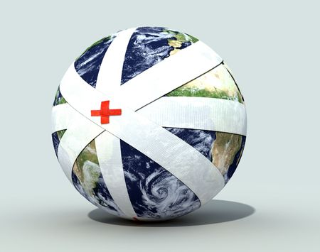 completely: the sick earth globe completely bandaged - digital artwork