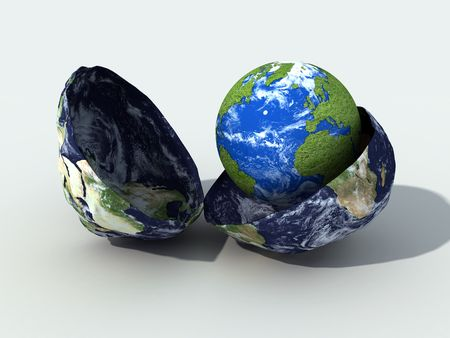 completely: the old globe opens him to make to be born a new earth completely recovered