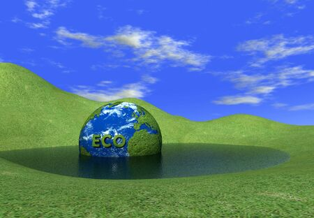 eco globe in water 3d rendering photo
