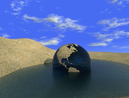 Environment emergency - arid globe in the last oasis digital artwork photo