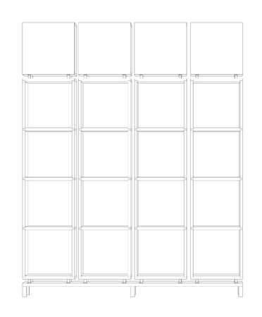autocad: 3d cad draw of a bookcase on white background
