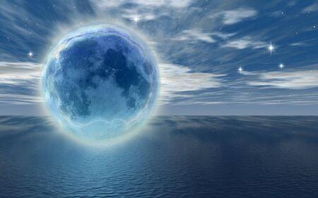 frozen moon over the ocean -digital art work photo