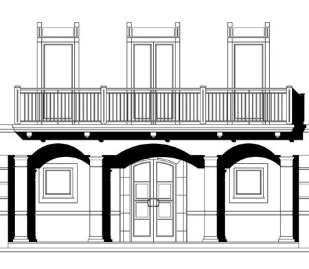front elevation: House elevation on white background with shadows