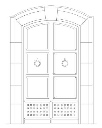 front elevation: elevation of an ancient front door Stock Photo