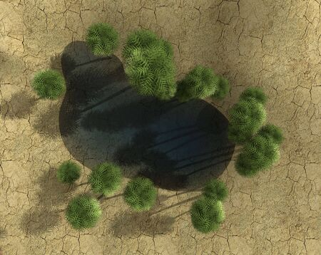 top view of an oasis -3d rendering Stock Photo - 3092067