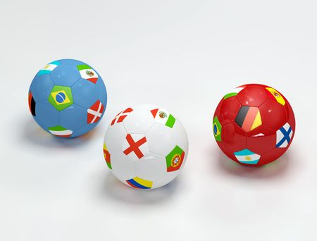 three soccer-ball with flags on withe background -3d rendering photo