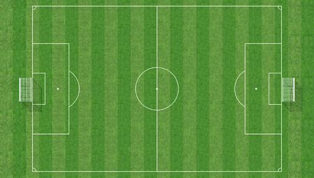 soccer field: aerial view of a soccer field -3d rendering