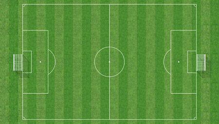 cancha deportiva futbol: vista aérea de un campo de fútbol-3D  Foto de archivo