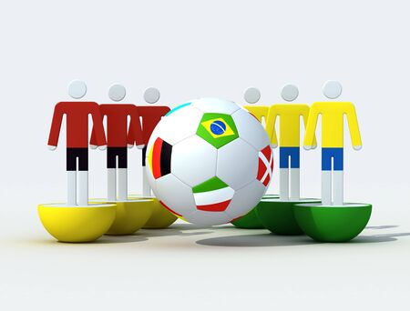 virtual soccer team and soccer-ball with flags Stock Photo - 3102243