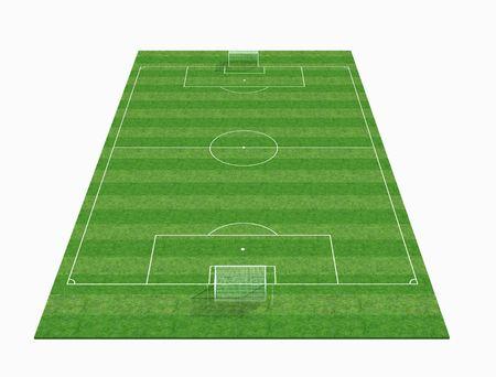 cancha de futbol: perspectiva de vista de un campo de f�tbol vac�o-3d renderig  Foto de archivo