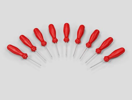 top view of a lot of red screwdriver - 3d rendering Stock Photo - 3200399