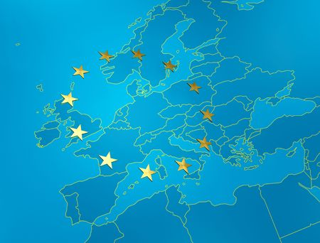 ec: perspective view of map of the European union with golden star