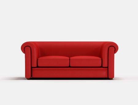 arredamento classico: Classico divano rosso su sfondo bianco-opere d'arte digitale