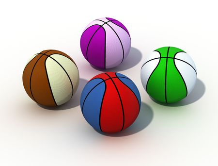 nba: colored basket-ball isolated on white background -digital artwork