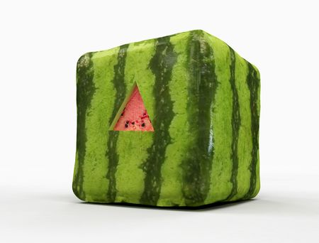 transgenic: transgenic watermelon  with triangular cut for taste -digital artwork