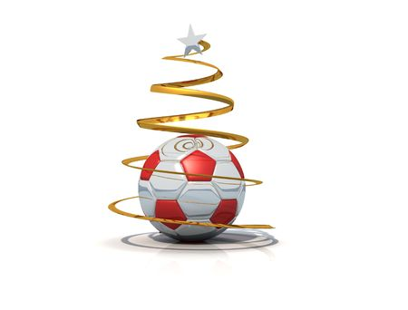 Marry christmas from the world of the soccer on white background Stock Photo