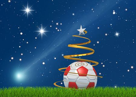 Marry christmas from the world of the soccer on starry background Stock Photo