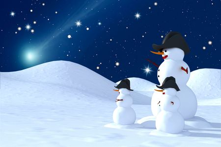 of snowmen  look at the star comet Stock Photo - 3501113