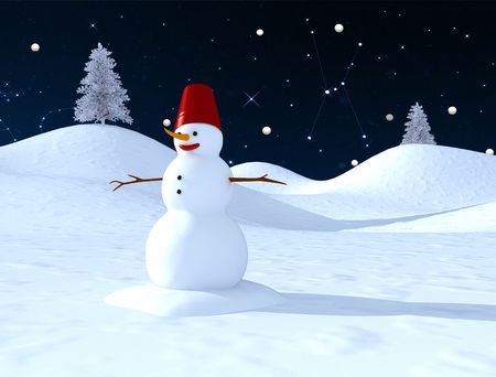Snow man with a blue  starry sky at the background Stock Photo - 3501111