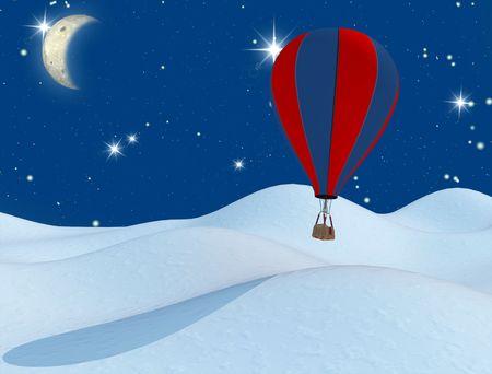 hot-air balloon and the moon - digital artwork Stock Photo - 3537130