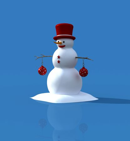 Snowman and christmas ball isolated on blue background Stock Photo - 3537133